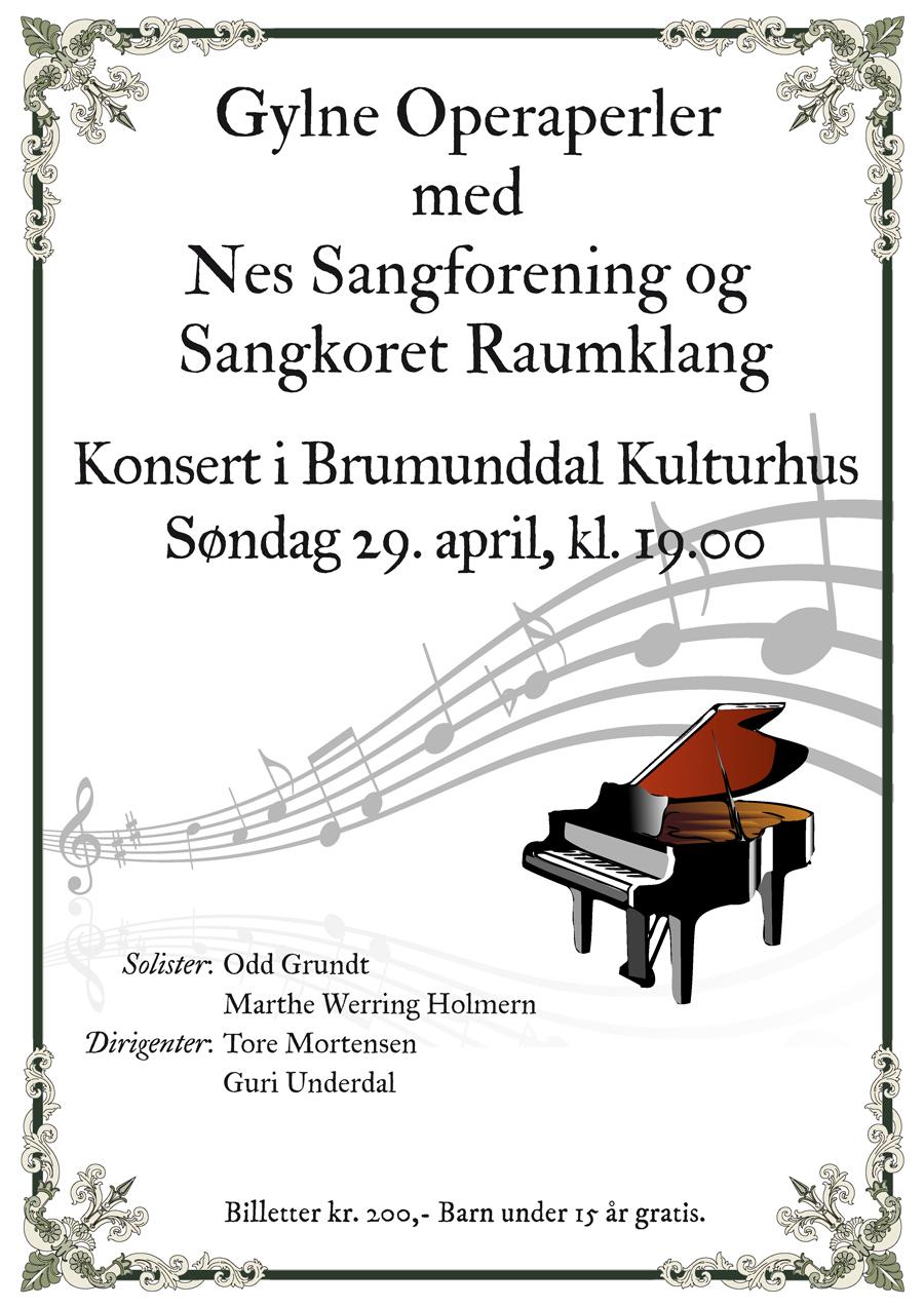 Konsertplakat for Nes Sangforening og Sangkoret Raumklang