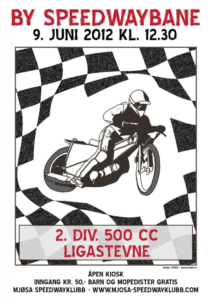 Stevneplakat for Mjøsa Speedwayklubb for stevne 09062012